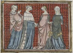 13th century.  One woman is wearing a floor length surcote and the other is wearing one that hits below the knee.