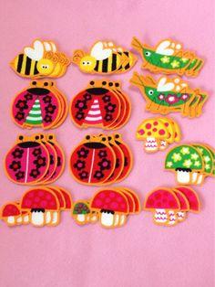 Wrapping ハンドメイドてんとう虫蜂バッタきのこ布シール39枚 インテリア 雑貨 Handmade ¥100yen 〆10月16日