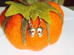 Halloween - Skull Earrings - Fancy Dress - Sterling Silver or Silver Plated by Makewithlovecrafts on Etsy Skull Earrings, Drop Earrings, White Gold, Blue And White, Natural Sapphire, Halloween Skull, Fancy Dress, Silver Plate, Sterling Silver