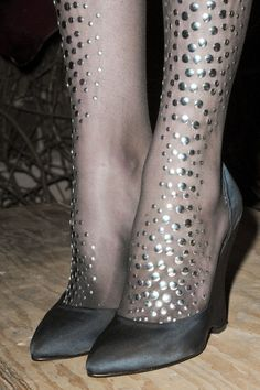 Cynthia Rowley AW13/14 Studded Embellished Sheer Tights Stockings NYFW