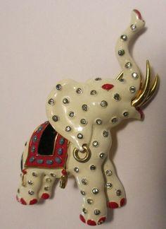 Vintage Trifari Elephant Brooch Pin Rhinestone Enamel Figural Philippe RARE 1942 #Trifari