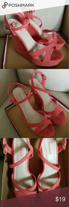 Wedge heels Brand: Bamboo Color: Coral  Size: 9  Worn once at my graduation 🎉 BAMBOO Shoes Wedges
