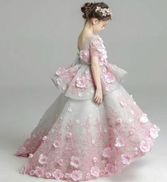 Sequin Flower Applique Gown---Made To Order - High Quality Beautiful & Elegant Pink Flower Applique Tiered Short Sleeve Junior Bridesmaid Gown With Short Train Available from 3 until 14 years old This gown adorned with pink flower and embroidery flowe Gowns For Girls, Little Girl Dresses, Girls Dresses, Dress Anak, Kids Gown, Kids Frocks, Flower Dresses, Kind Mode, Baby Dress