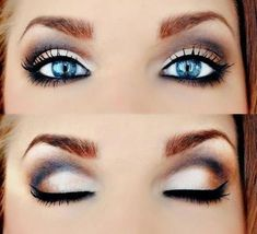 Eye make-up. Black out with a touch of dark brown on the sides and gold/creme for the eye lids. Beautiful #makeupforbrowneyes