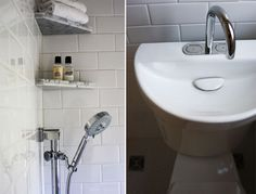 SMALL BATHROOM SOLUTION: TOILET WITH SINK IN THE LID, SHOWER DESIGNED TO DRAIN INTO THE BATHROOM FLOOR