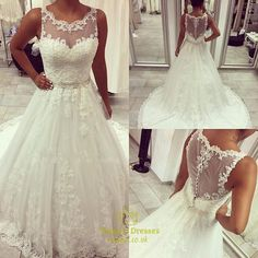 vampal.co.uk Offers High Quality Beaded Lace Applique Sheer Back Wedding Dress With Buttons Down Back      ,Priced At Only USD $280.00 (Free Shipping)