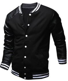 Slimming Trendy Stand Collar Color Block PU Leather Splicing Long Sleeve Polyester Jacket For Men