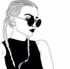 grafika girl, outline, and drawing Tumblr Outline, Outline Art, Outline Drawings, Cute Drawings, Hipster Drawings, Text Drawings, Girl Drawings, Doodle Drawings, Pencil Drawings
