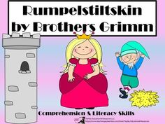 Price $4.50 Review literacy and comprehension concepts the fun way! In Rumpelstiltskin: Comprehension and Literacy, learners answer 30 questions pertaining to the story by Brothers Grimm (with link included to the printable original Rumpelstiltskin story).These task cards can be used as a class game, in cooperative  groups or at a center.