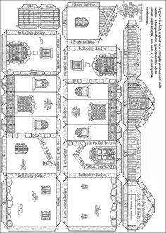 Somodi Zoltán papírmakett: 2009 Cardboard Box Houses, Cardboard City, Cardboard Paper, Paper Houses, Diy Christmas Village, Christmas Diy, 3d Paper Crafts, Paper Art, House Template