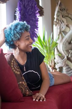 black girl with colorful hair colored hair blue hair afro hair black wome black girl with colorful hair colored hair blue hair afro hair black womens inspiration beauty Blue Hair Black Girl, Hair Color For Black Hair, Cool Hair Color, Afro Hairstyles, Trendy Hairstyles, Black Hairstyles, Curly Hair Styles, Natural Hair Styles, Natural Curls
