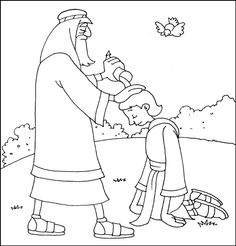 Bible Puzzles: Coloring Pages - Samuel Anointing David