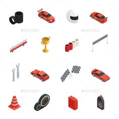 Sixteen isolated car race isometric icons set with tyres cars oil cans winner cup and helmet vector illustration. Editable EPS and
