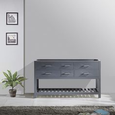 Product Features:Main Cabinet: 59.21 in. W x 21.65 in. D x 34.06 in. HGrey Cabinet FinishSolid Oak WoodWater Resistant Low V.O.C Sealer4 Functional Drawers with Soft Closing HingesChrome Handles with Satin Nickel HighlightsIncluded: (1) CabinetMinimal Assembly RequiredBasin and Mirror not included