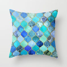 Cobalt Blue, Aqua & Gold Decorative Moroccan Tile Pattern Throw Pillow