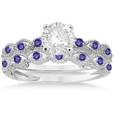 Allurez Antique Tanzanite Bridal Set Marquise Shape 14K White Gold... ($945) ❤ liked on Polyvore featuring jewelry, rings, 14k engagement ring, marquise cut engagement rings, tanzanite wedding rings, wedding rings i white gold tanzanite ring