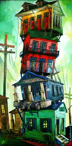 New Orleans artist terrance osborne . 'post hurricane blues' . S)