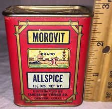 ANTIQUE MOROVIT SPICE TIN ALLSPICE CAN SANDERSON COFFEE CO DENVER COLORADO RARE