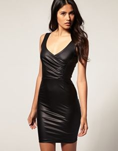 TFNC Body-Conscious Dress in Rubberised Wet Look Fabric - StyleSays