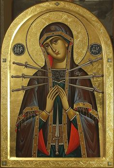 Religious Icons, Religious Art, Sacred Heart Tattoos, Our Lady Of Sorrows, Orthodox Icons, Holy Spirit, Gabriel, Catholic, Cathedral
