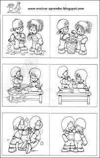 regrinhas 1 Preschool Coloring Pages, Coloring Pages For Kids, Preschool Crafts, Autism Learning, Kids Learning, Montessori Activities, Educational Activities, Preschool Friendship, Sequencing Pictures
