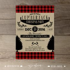 holiday party invitation christmas winter flannel fur fizz