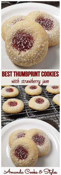 These are the BEST Thumbprint Cookies! Soft and chewy thumbprint cookies with strawberry jam are the perfect Christmas cookies to serve with coffee and hot cocoa. cookies Thumbprint Cookies with strawberry jam Jelly Cookies, Jam Cookies, Cookies Soft, Super Cookies, Brownie Cookies, Holiday Baking, Christmas Baking, Chocolate Chip Cookies, Desert Recipes