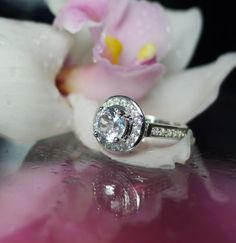 White Sapphire Engagement Ring Sterling Silver With White Topaz