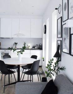 New Kitchen White Walls Window Ideas Decor, Kitchen Design, White Apartment Decor, White Eames Chair, Interior, Small Apartment Chairs, Black And White Furniture, Home Decor, House Interior