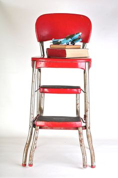 Exceptional Cosco Fold Out Red Step Stool Chair 1950s Tall By Thisvintagething, $69.99 Great Ideas