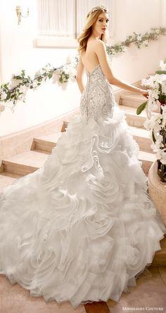 moonlight couture bridal fall 2016 strapless sweetheart beaded bodice mermaid wedding dress flange skirt (h1318) bv train
