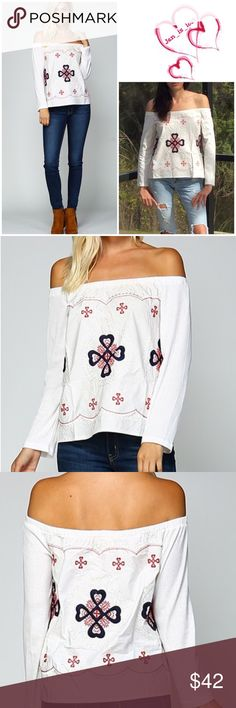 """🔴Final Price🔴 White Boho Off the Shoulders Top Boho embroidered off the shoulder blue top. Material is 90% cotton and 10% polyester. Fit is true to size, small fits 2/4, 19 1/2"""" across the bust and 18 1/2"""" in length, medium fits 6/8, 20"""" across the bust and 18 1/2"""" length, & large fits 10/12, 20 1/2"""" across the bust and 19"""" in length. Personal note bin smoa hanging Tops Blouses"""