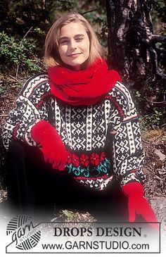 "DROPS jumper with star and rose pattern, scarf and gloves in ""Karisma"". ~ DROPS Design"