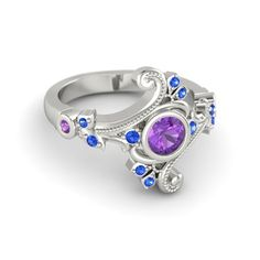 Engagement Ring With Amethyst and Sapphire instead of diamonds