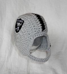 Oakland+Raiders+Inspired+Crochet+Baby+Football+Helmet+by+CDBSTUDIO,+$29.99