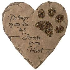 Heart Pet Memorial Stone Paw Print Grave Marker