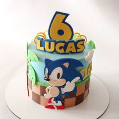 Sonic Birthday Cake, Sonic Birthday Parties, Birthday Themes For Boys, Birthday Party Themes, Boy Birthday, Bolo Sonic, Sonic Cake, Sonic Party, Sonic Kuchen