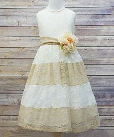 Ivory & Champagne Lace Color Block Dress - Toddler & Girls