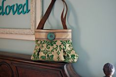 Green Chenille Handbag. Purse  Imogene by cayennepeppybags on Etsy, $65.00
