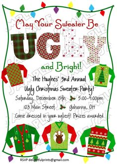 Ugly Christmas sweater holiday party invite
