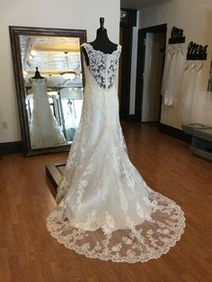 This lace off-the-shoulder fit and flair wedding dress has everything. With a scalloped train and beautifully beaded. Wedding Dress Styles, Wedding Gowns, Off The Shoulder, Dream Wedding, Train, Bridal, Lace, Fit, Beauty