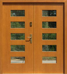 Nowoczesne drzwi zewnętrzne dwuskrzydłowe wzór 912,1