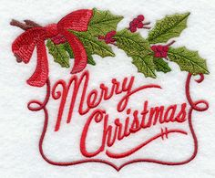 MERRY CHRISTMAS with boughs Embroidered white Kitchen tea towel by StitchnJEmbroidery on Etsy