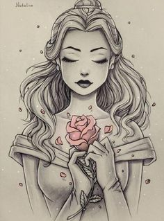This is Beautiful ! Sketched picture of Disney Princess Belle, with only the ros. This is Beautiful ! Sketched picture of Disney Princess Belle, with only the rose in color. Disney Princess Belle, Princesa Disney Bella, Disney Princess Tattoo, Tattoo Disney, Disney Tattoos Unique, Punk Princess, Princess Jasmine, Disney Fan Art, Disney Artwork