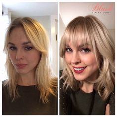 Before and after with bangs, hairstyle, blonde highlights, bangs, wavy hair, mid length haircut, www.blushstylestudio.com