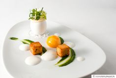 Konfiertes Eigelb | Kartoffelespuma | Spinatcrème | Trüffelschaum