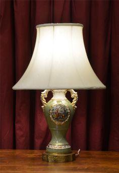 Vintage Ceramic Lamp Lime Green Love Story Type Image