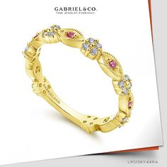 14K Yellow Gold Alternating Ruby and Diamond Station Stackable Ring LR5136Y44RA#GabrielNY #UniqueJewelry #Stackable#DiamondStackable#StackableRings #AlternatingRubyStackableRing Gabriel Jewelry, Stackable Rings, Yellow, Diamond, Unique Jewelry, Bracelets, Gold, Style, Swag