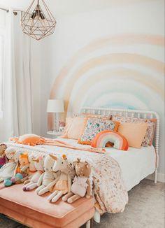 Big Girl Bedrooms, Little Girl Rooms, Girls Bedroom, Bedroom Bed, Diy Room Decor, Bedroom Decor, Room Decorations, Rainbow Bedroom, Rainbow Nursery