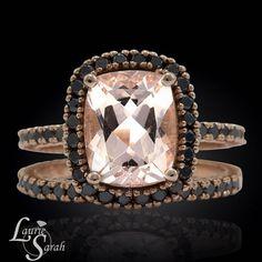 Morganite Engagement Ring 14k Rose Gold by LaurieSarahDesigns